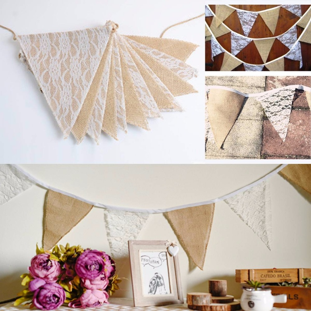 Good Linen Bunting Triangle Flags Lace Banner Garland Party Wedding Home Decor