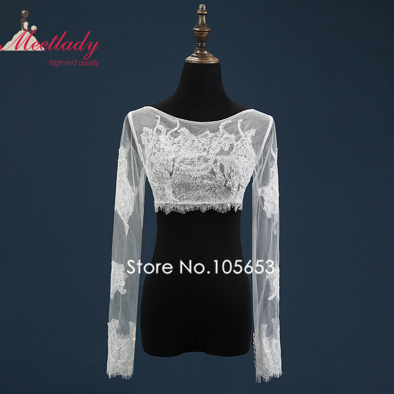 d2f50c9857 Sexy Sheer Real Samples Wedding Bolero Long Sleeves Plus Size Bridal ...
