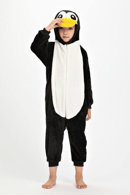 Free shipping Unisex Children Kids Animal Cosplay Costume Pajamas Pyjamas Giraffe Onesies Gray/Black Penguin