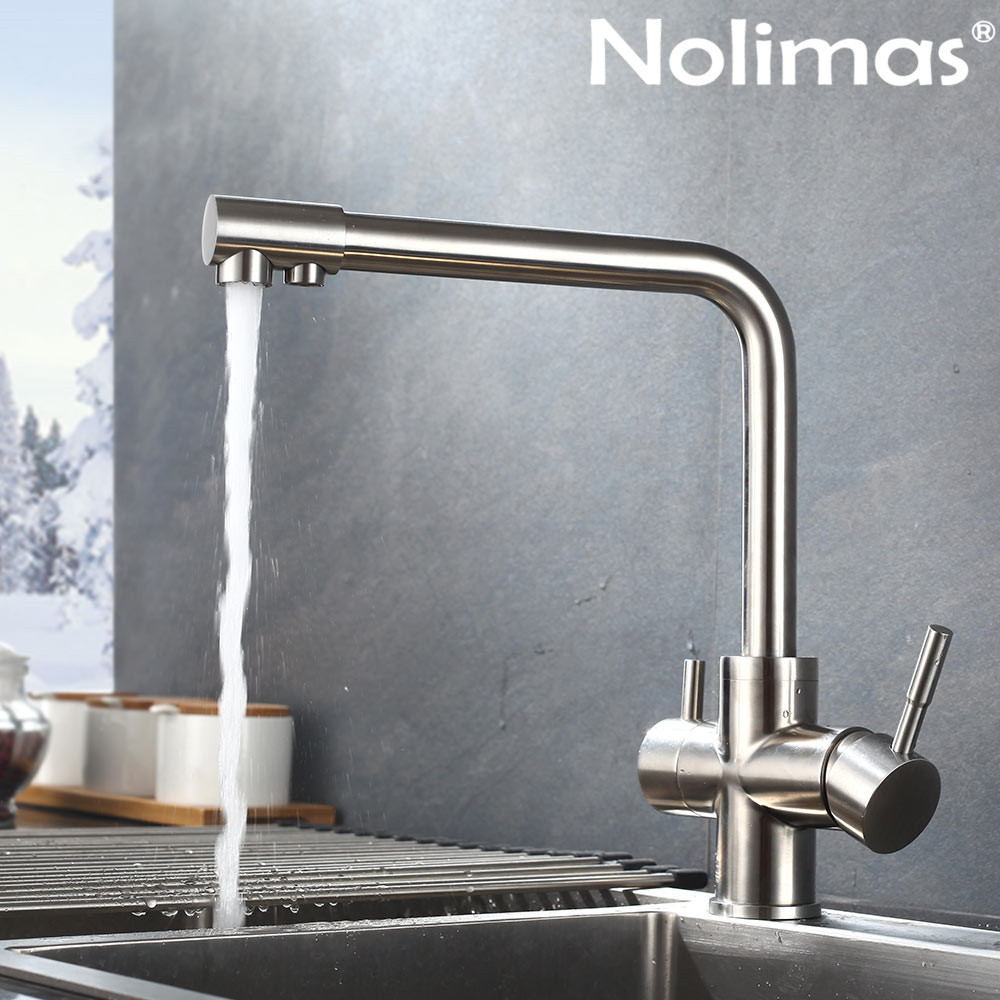 2 Holes Brushed Nickle paints SUS 304 stainless steel Double water spout with clean water Hot And Cold Double Control Faucets цена