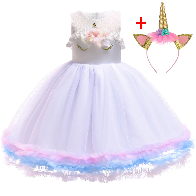 HTB1tfI ahrvK1RjSszeq6yObFXa1 Unicorn Dresses For Elsa Costume Carnival Christmas Kids Dresses For Girls Birthday Princess Dress Children Party Dress fantasia