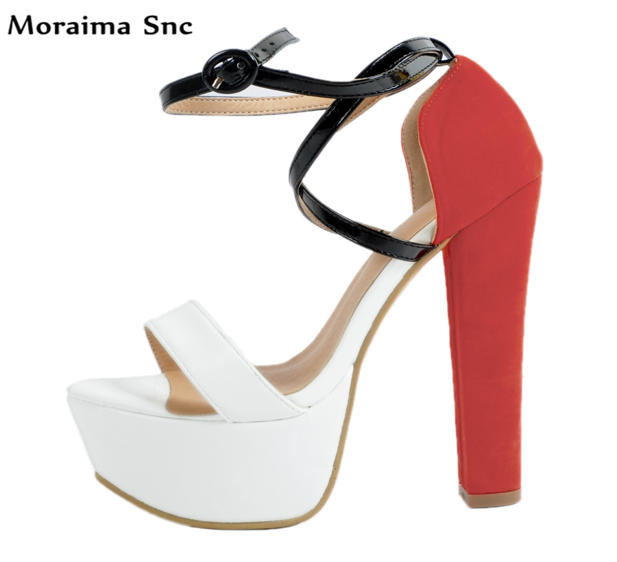 Moraima Snc Newly Arrival Sexy women pumps mixed colors open toe high platform cross-tied Ankle strap buckle Decoration