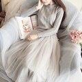 Nueva primavera otoño invierno o-cuello delgado de la cintura giro suéter de punto remiendo de la gasa completo fairy dress de las mujeres básicas de una sola pieza dress