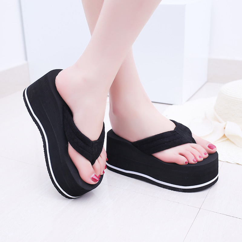 women beach flip flop platform wedge slip on casual thong sandals summer fashion thick with heel slippers shoes nayiduyun women genuine leather wedge high heel pumps platform creepers round toe slip on casual shoes boots wedge sneakers