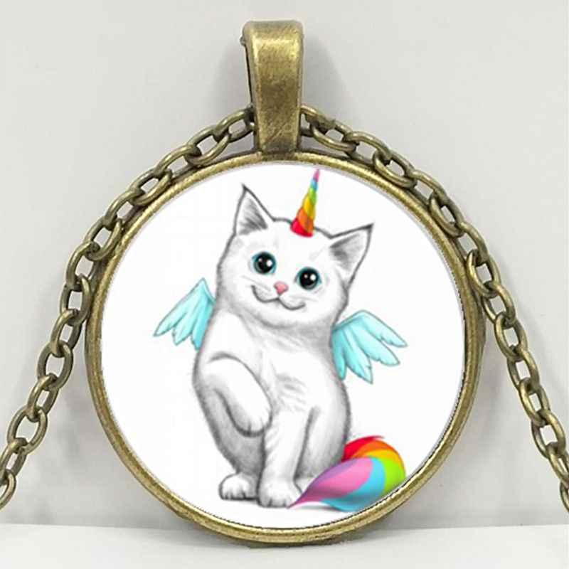 Единорог Белый Кот фото тибетский серебряный Кабошон стекло кулон цепь ожерелье детский кулон ожерелье