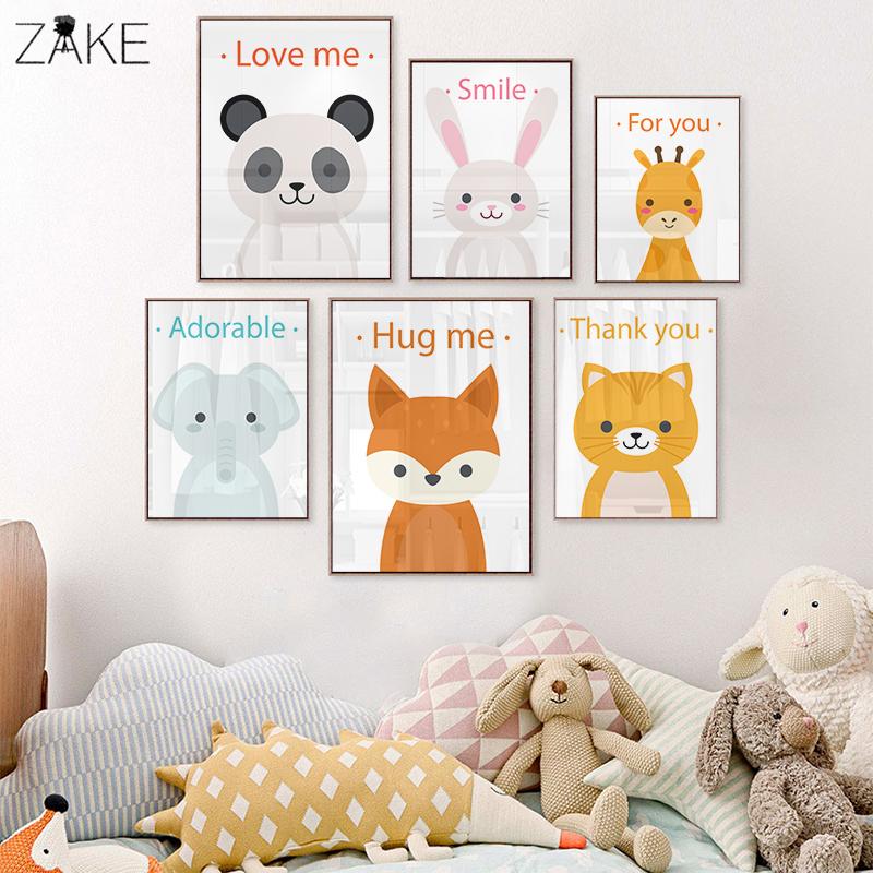 Woodland Baby Animals Rabbit Elephant Panda Canvas Prints Painting Nursery Wall Art Decor Kids Room Playroom Posters Decoration