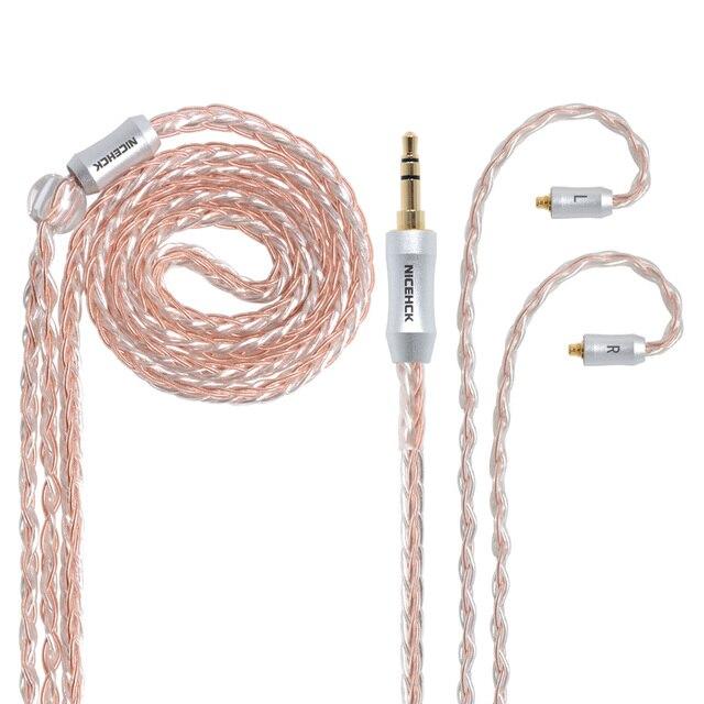 NICEHCK 8 コア銅シルバー混合ケーブル MMCX/2Pin 3.5/2.5/4.4 ミリメートルバランス C12 C16 ZS10 ZSX V90 TFZ NICEHCK NX7 プロ/DB3/F3/M6