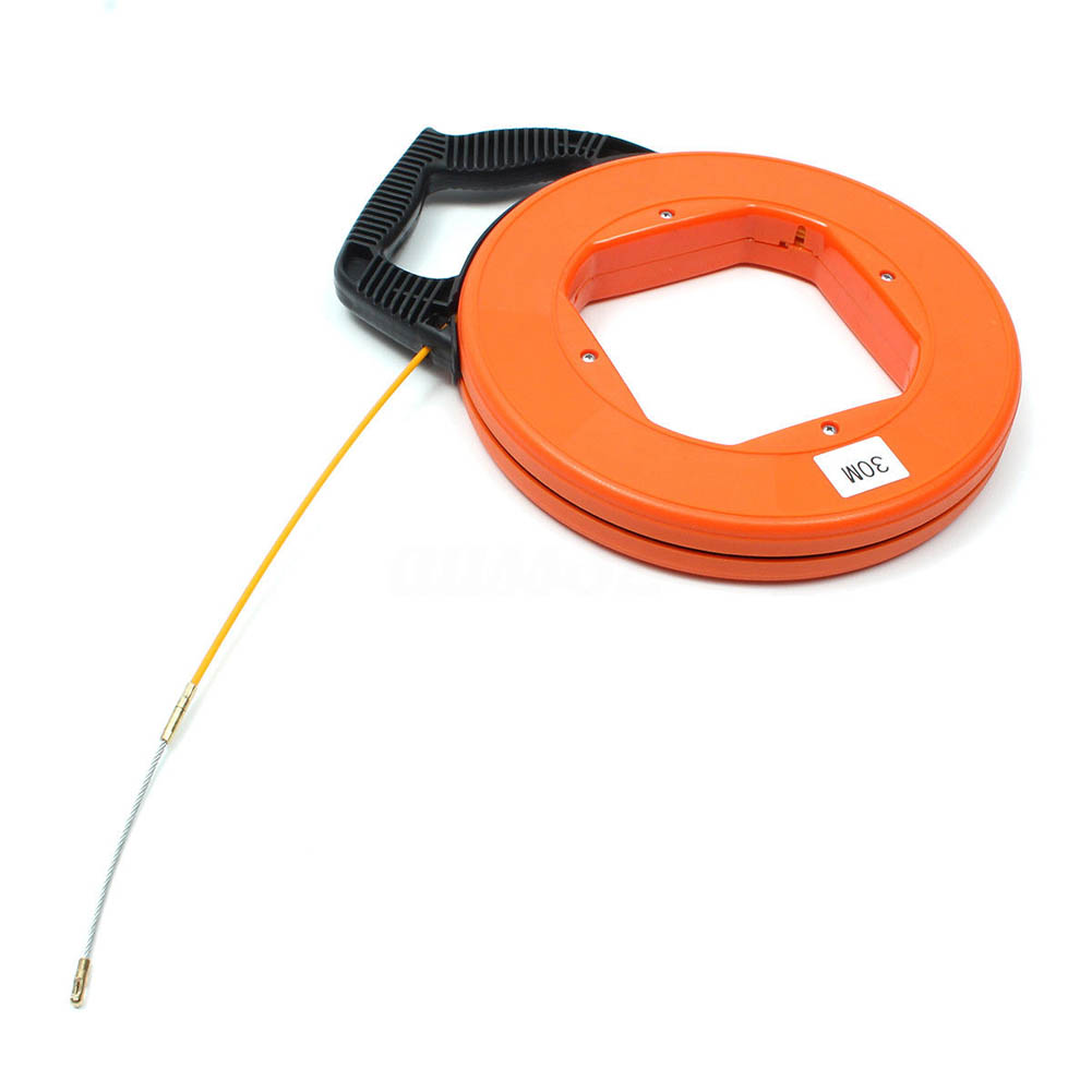 30Meter Fiberglass Fish Tape Reel Puller Conduit Ducting Rodder Pulling Wire Cable Tool LO88