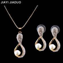 jiayijiaduo Bridal Jewelry Set for women imitation pearl Pendant Necklace Earrings gold-color wedding clothing accessories(China)