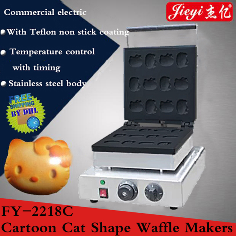 1pc  Electric Commercial Cartoon cat shaped waffle makers 110V/220V/1750W Adjustable Thermostat Cookie Maker machine cat paradise vol 1 v 1