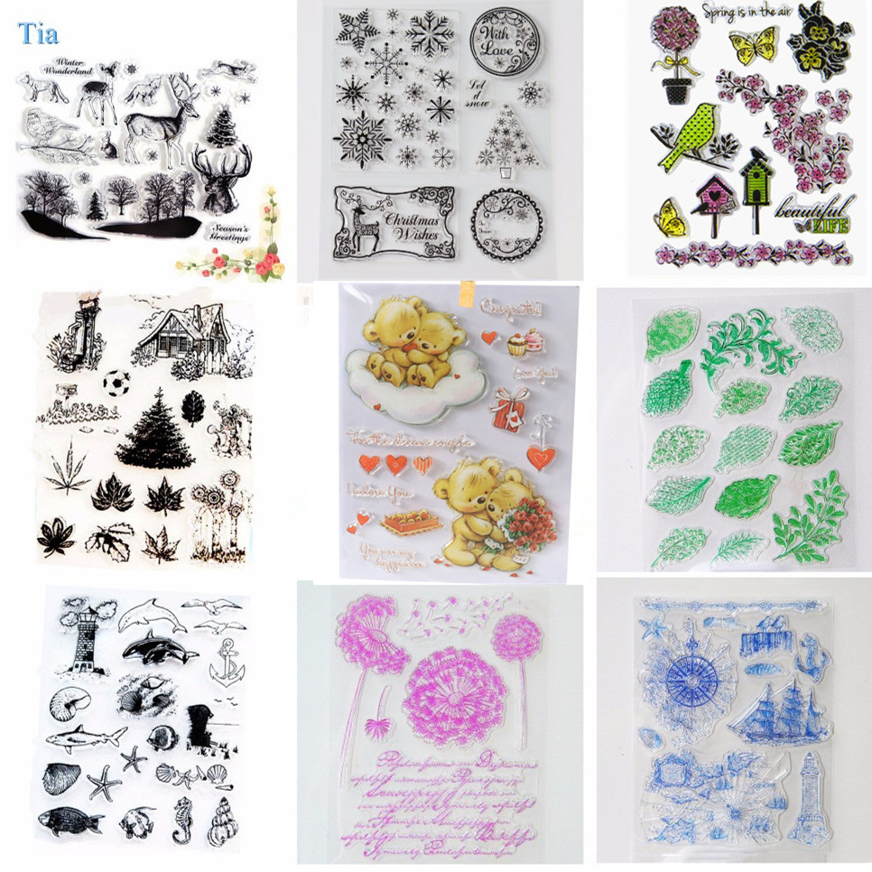 14*18cm Sea animal vintage travel Stamp transparent halloween  Clear stamps Christmas seal for DIY Scrapbooking Decorative lovely animals and ballon design transparent clear silicone stamp for diy scrapbooking photo album clear stamp cl 278