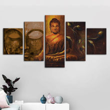 Modular Pictures Canvas Prints Buddha Portrait Painting Lotus Wall Art Poster Home Decoration For Living Room Framework Artwork(China)