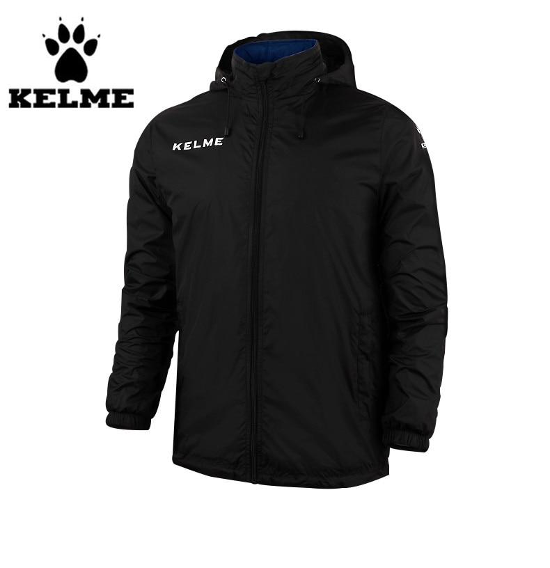 ФОТО Kelme Men's Stand Collar Waterproof Raincoats Hooded Jacket K15S604 Black