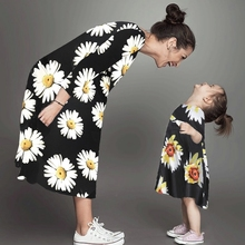 купить Mother and Daughter Casual Dresses Family Look Mommy and Me Clothes Mom Mum and Daughter Matching Outfits Loose Dress Clothing по цене 438.33 рублей
