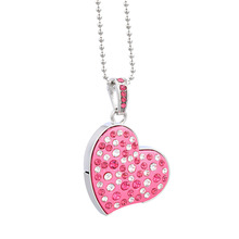 J-boxing Pink 32GB USB Flash Crystal Heart 16GB Memory Stick Fashion Necklace Pen Drive for Computer Tablet Mac 8GB