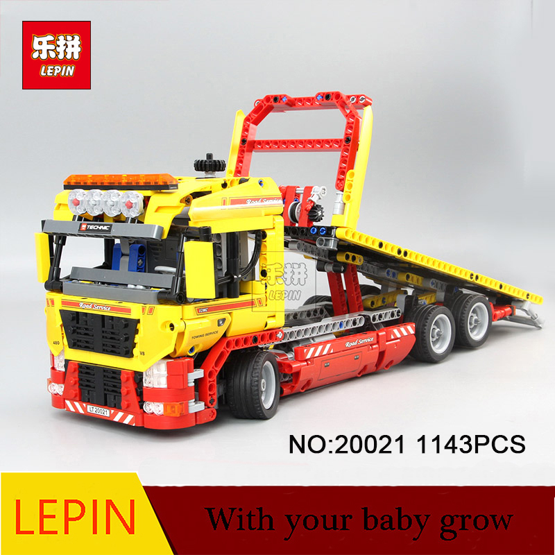 Lepin 20021 Technic Series 1143pcs Building Blocks toys Flatbed Truck kids Bricks Educational toy gifts Compatible Legoe 8109 decool technic city series bucket truck building blocks bricks model kids toys marvel compatible legoe
