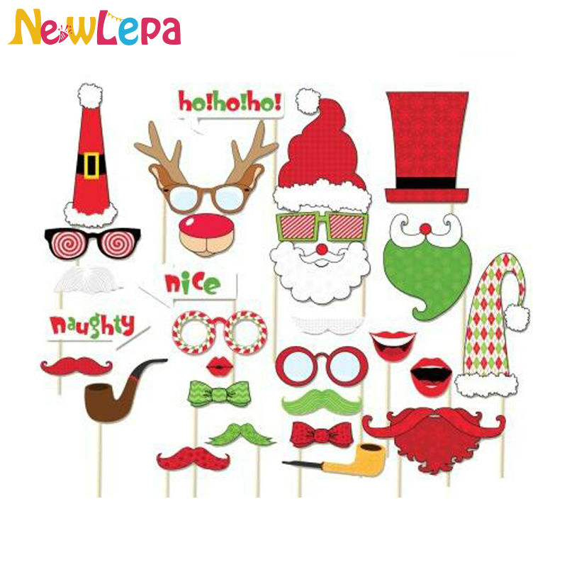 Newlepa 29pcslot christmas photo booth props moustache lips on a newlepa 29pcslot christmas photo booth props moustache lips on a stick supplies decoration in photobooth props from home garden on aliexpress solutioingenieria Image collections