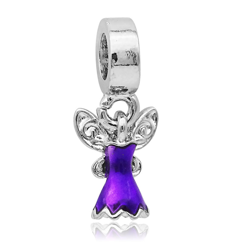 2017 DIY European Beads Cartoon Purple Tinkerbell Beads Enamel Beads Fit Original Pandora Bracelets & Bangles Big Hole Charms