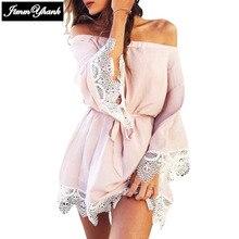JIMMYHANK 2017 Women Summer Spring Slash Neck Off Shouder Long Sleeve Lace Stitching Patchwork Casual Mini Dress