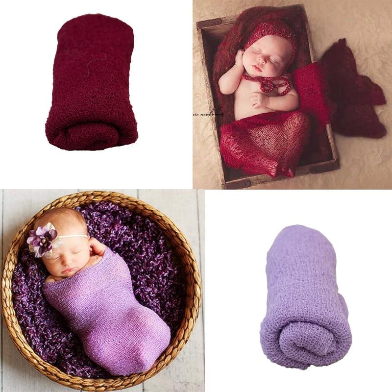 16 färger Nyfödda fotografier Props Bomull Foto Wrap Cloth Fotografier Bakgrunder För Infant Accessoire Headband Photographie