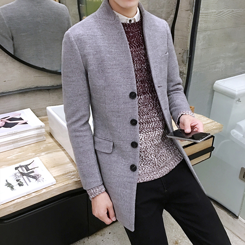 2019 Winter Men's Casual Long-sleeved   Trench   Coat , British Fashion Korean Designer Slim Collar Single-breasted Woolen Blazer