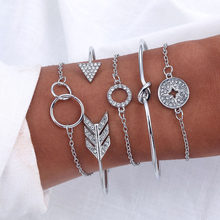 AILEND5 pieces / rhinestone bracelet and bracelet arrow crystal round bracelet ladies new retro bracelet women fashion jewelry(China)