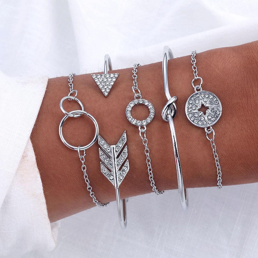 VKME5 pieces / rhinestone bracelet and bracelet arrow crystal round bracelet ladies new retro bracelet women fashion jewelry(China)