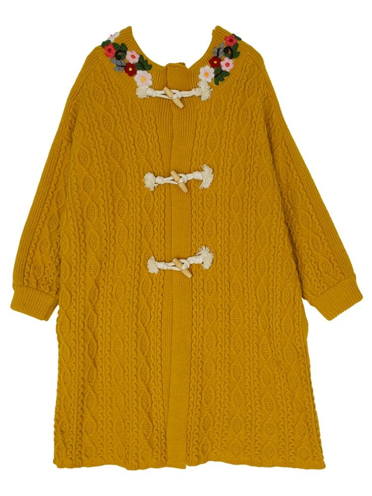 Écharpe Femmes Conception Chandail Chinoiserie Longue Filles Vintage Jaune Originale Lynette's Broderie Hiver Tricoté Automne Mori Cardigans 1fPRRqpW