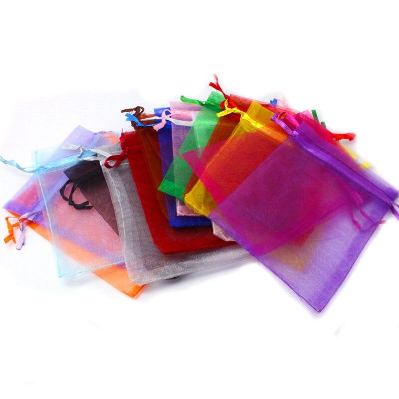 10 шт./лот, Разноцветные сумки из органзы 9*12 см, маленькие свадебные подарочные мешочки, милые карманы с завязками, сумка для упаковки конфет ...