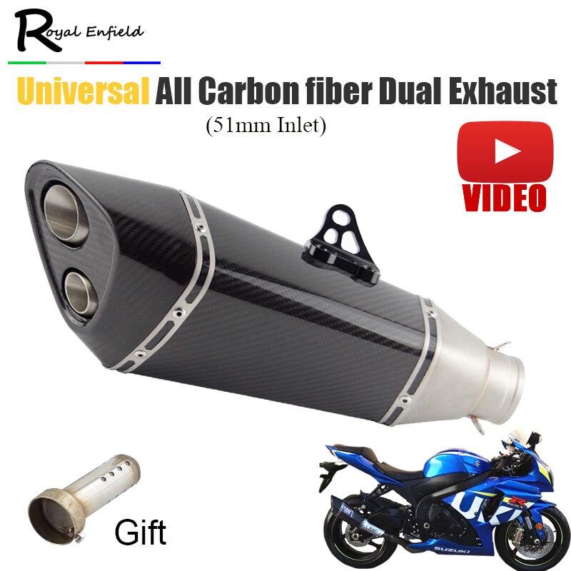 51 мм ID Мотоцикл выхлопная труба Универсальный углеродного волокна Modifide скутер глушитель GSXR1000 gsxr750 gsxr600 r11 двойной выход
