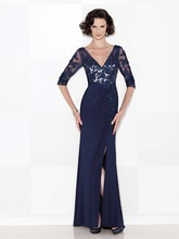 Free Shipping Blue One Piece V Neck Beaded Lace Mother of the Bride Dresses Gowns Chiffon