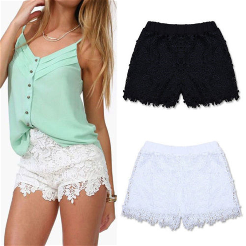 Hot Ladies Floral Lace Shorts Women's Hotpants Vintage Cut Off High Waisted Shorts Women Black White Flower Embroidery Hotpants