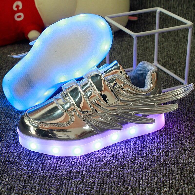 correndo led asas luzes ate sapatos luminosos 02