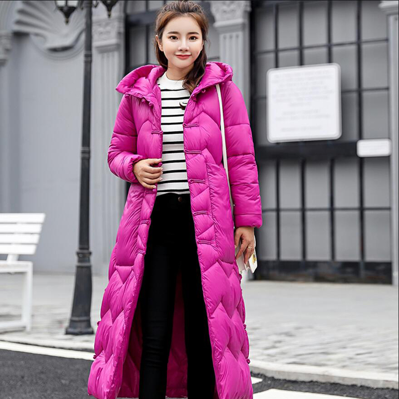 2018 Plus Size Long Autumn Winter Hooded   Coat   Women White Duck   Down   Jacket Parkas Thicken Warm   Down     Coat   Ladies Outerwear YP1240