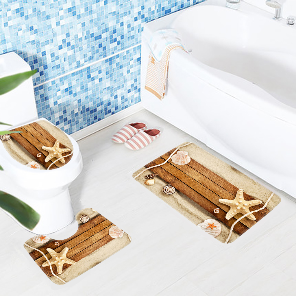 3pcs Bathroom Rug Set Beach Shells on The Wood Pattern Bath Mat Non Slip Toilet Mat and Shower Mats Set ...