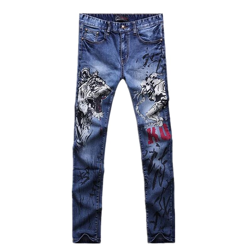 2017 Free Shipping Hot Famous Brand Mens Jeans,High Quality Fashion Jeans Men,Straight Blue Pattern Printed Men Jeans Plus size