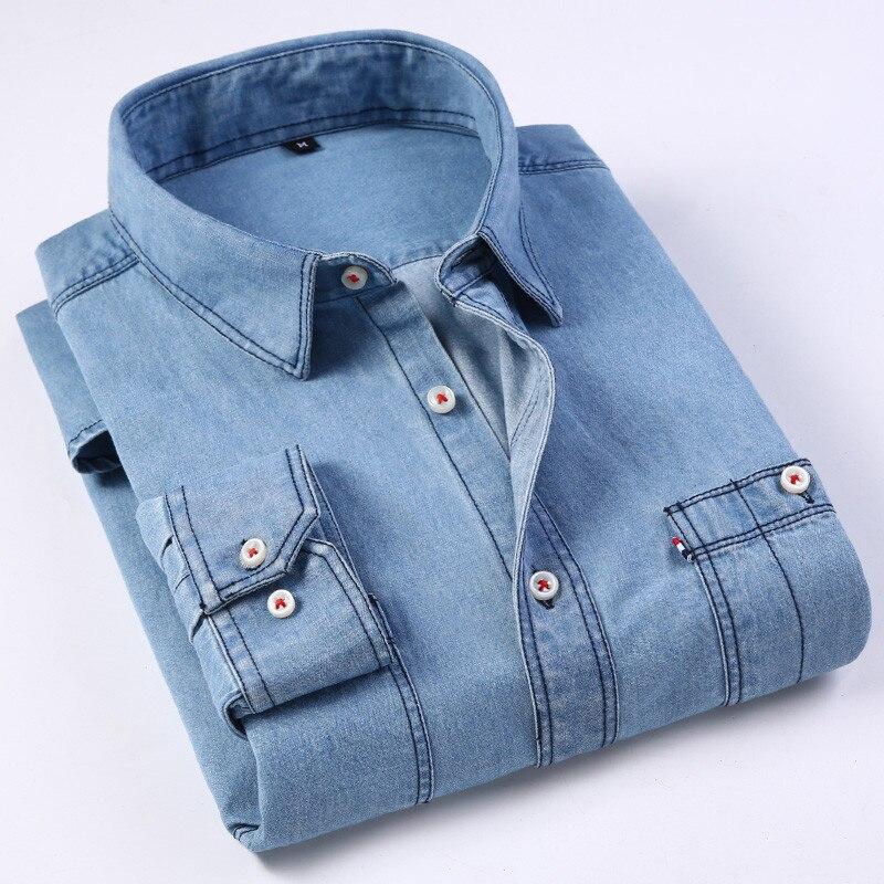 New Men's Denim Shirt Fashion Casual Sport Pure 100% Cotton Regular Jeans Shirt Men Solid Balck Chest Pockets Formal Work Shirts