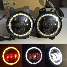 4.5 Inch Round Fog Lights 4.5″ Passing Auxiliary Lamps with White Amber Angel Eyes Red Demon Eyes for Harley Davidson Motorcycle