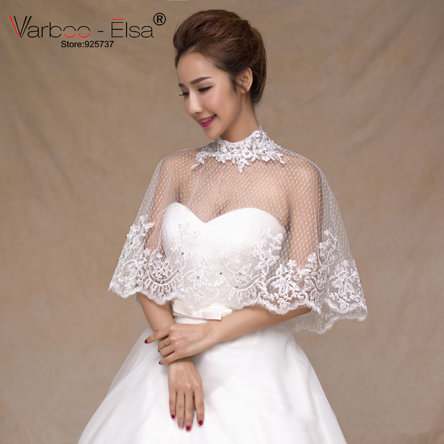 Varboo Elsa Summer Elegant High Neck Bridal Shawl Lace Thin Transpa Cape Wedding Accessories Crystal Top