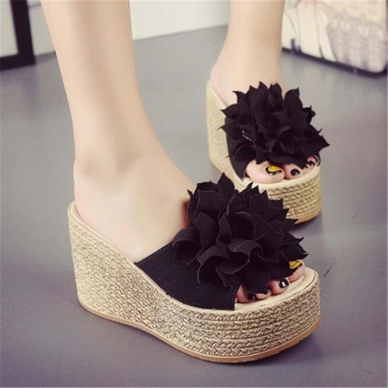 Black Green Newest 2017 Ladies Summer Flower Shoes Woman High Heel Wedges Flip Flops Open Toe Thick Platform Slippers Size 34-40