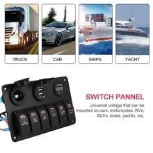 цена на 6 Gang Waterproof RV Car Marine Boat Circuit Breaker LED Rocker Switch Panel Dual USB Charger Cigarette Socket