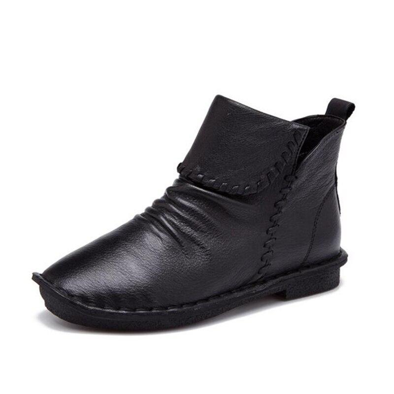 Botas Maman Noir Cheville gris Mode En Snurulan Femmes marron Style Manuel Bottes 2017 Main Chaussures Rétro À La Vintage rouge Cuir Pour Suture Véritable MpLVGqSUz