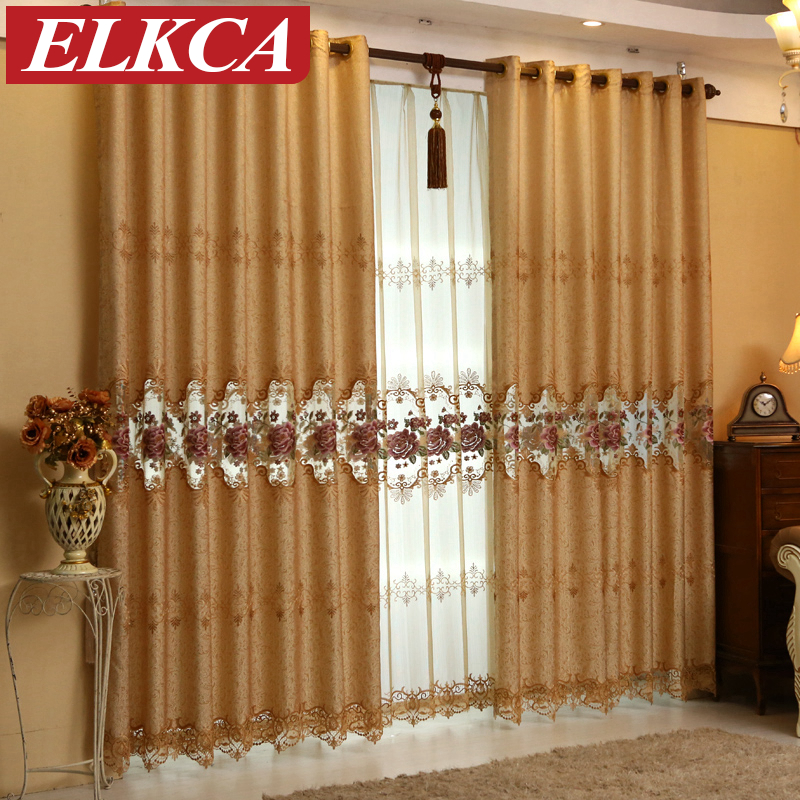 Custom Made European Royal Luxury Curtains For Living Room Embroidered Voile Curtains For The Bedroom Window Blinds Drapes