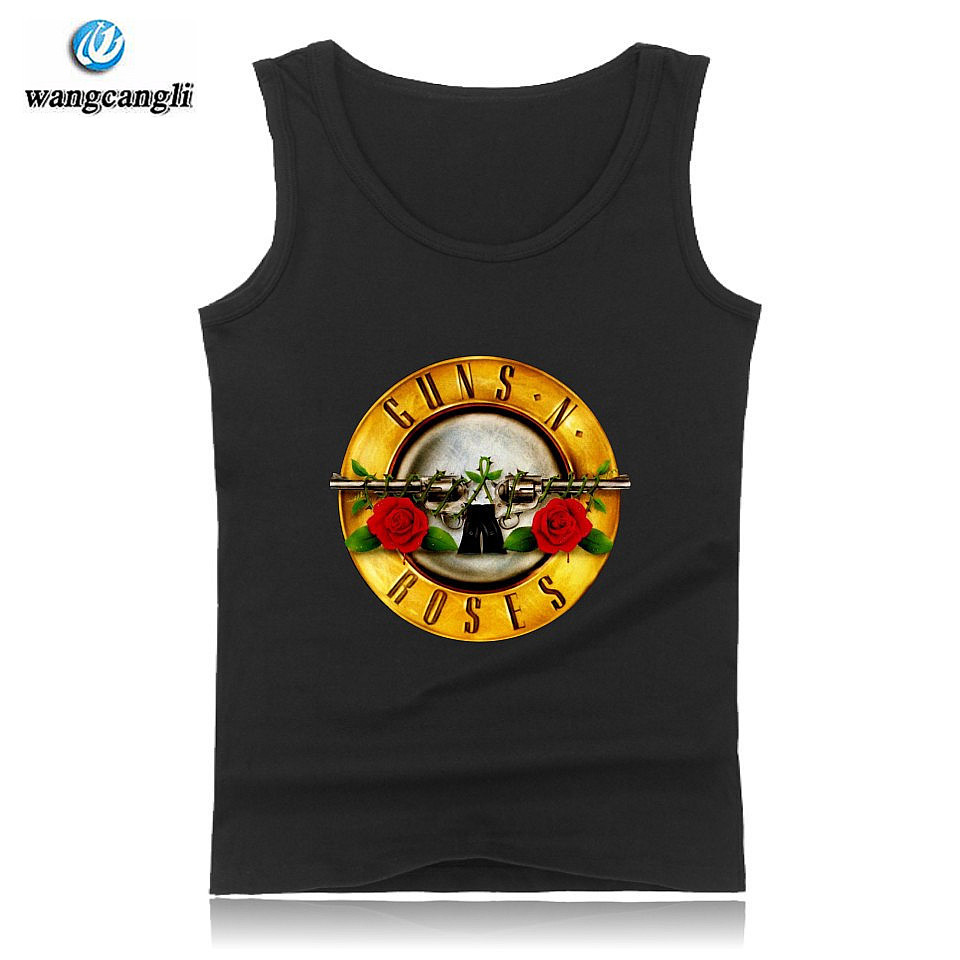 Rock Band Guns N Roses fashion   tank     tops   plus size summer vest cotton fitness   tank     top   men black sleeveless shirt Guns and Roses