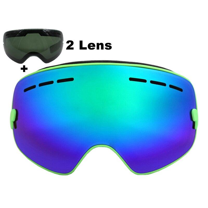 Prix pour Marque Ski Lunettes Double Lentille UV400 Anti-brouillard Grand Sphérique Ski Lunettes Masques Snowboard Lunettes Noir Lentille 2 Lentille