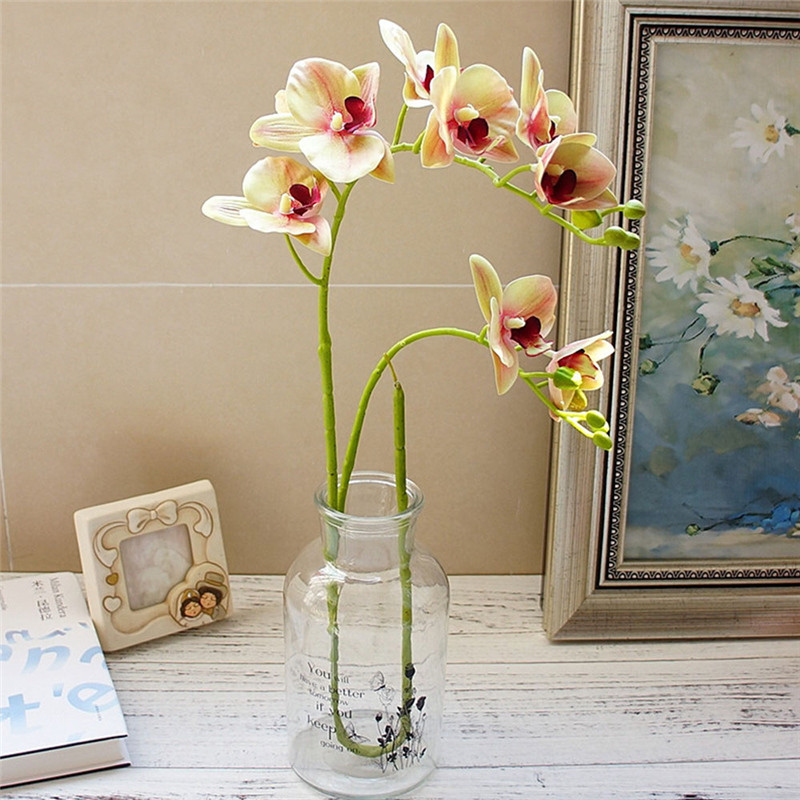 2 Forks 3D Artificial Butterfly Orchid Flower Simulation Green Plant Silk Real Touch Flower Bouquet for Home Wedding Decoration