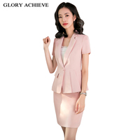 Ladies Office Uniform Designs Business Suits With Skirt and Tops Summer Fashion Short Sleeve Pink Formal Work Wear Sets Blazer