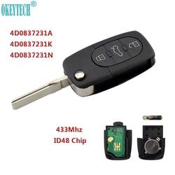 OkeyTech 433Mhz 3 Button Car Remote Key for AUDI 4D0837231A 4D0837231K 4D0837231N Flip Fold ID48 Chip for A3 A4 A6 A8 Old Models