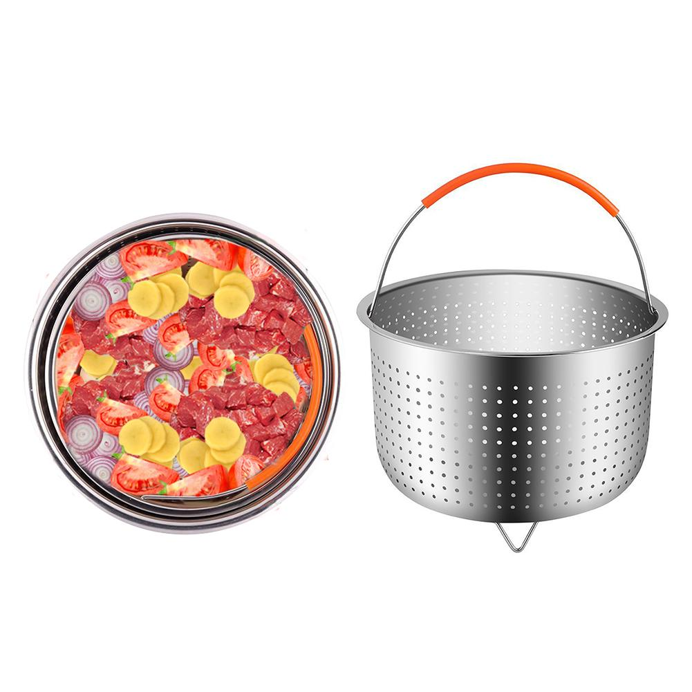6/8 Quart 304 Stainless Steel Rice Cooker Steam Basket Pressure Cooker Anti-scald Steamer Multi-Function Fruit Cleaning Basket