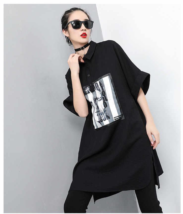 Zanzea Vadim bluzka kobiety darmowa wysyłka 2019 nowy drukuje długie koszule pół regularne trwała bawełna